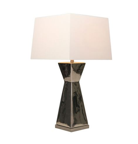 Silver Ceramic Hourglass Table Lamp 34in