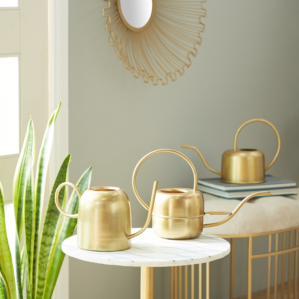 Gold Metal Watering Can Large