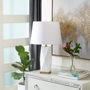 White & Gold Geo Table Lamp