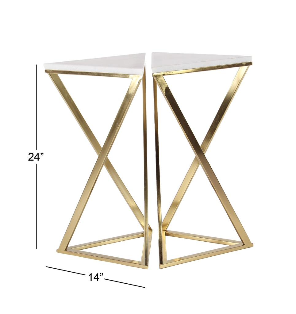 Marble Top Gold Side Table Set