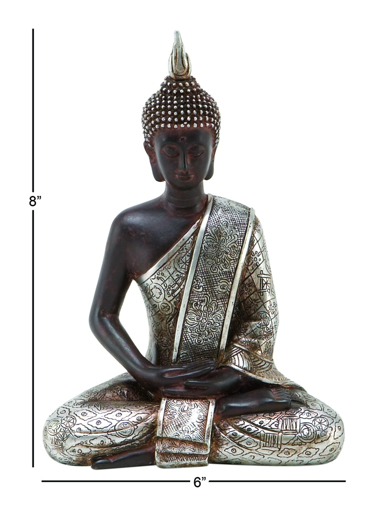 Wood & Silver Sitting Buddha Statue 12in