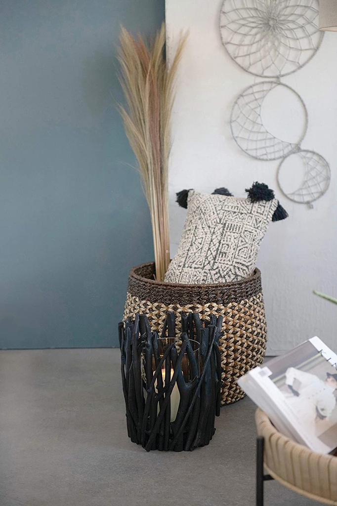 Patterned Lumbar Pillow with Tassels 36in