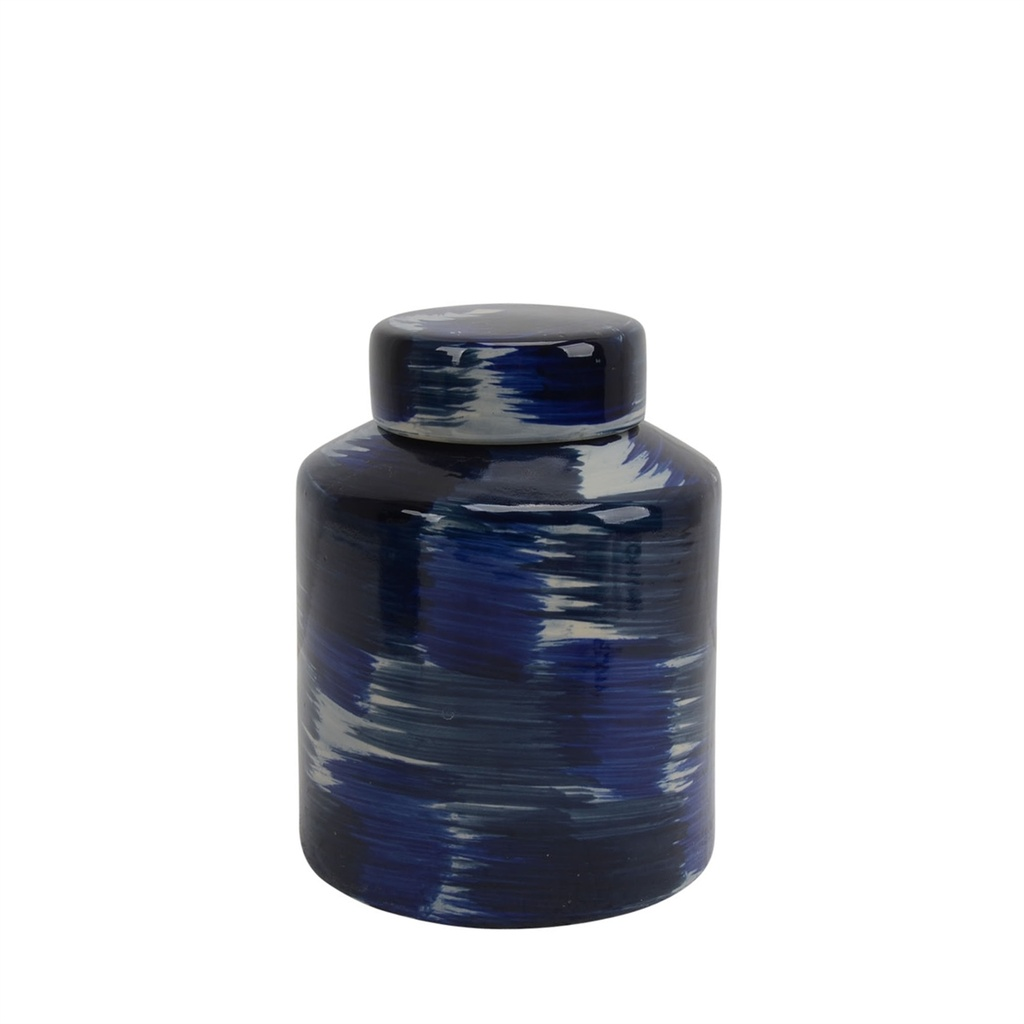 Blue Strokes Ceramic Jar 9in