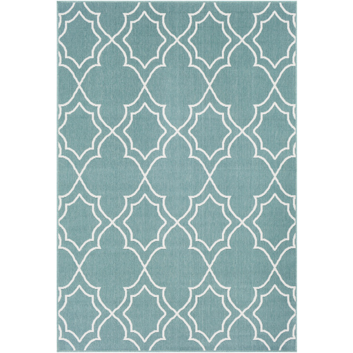 Alfresco Trellis Teal  Rug 5x8