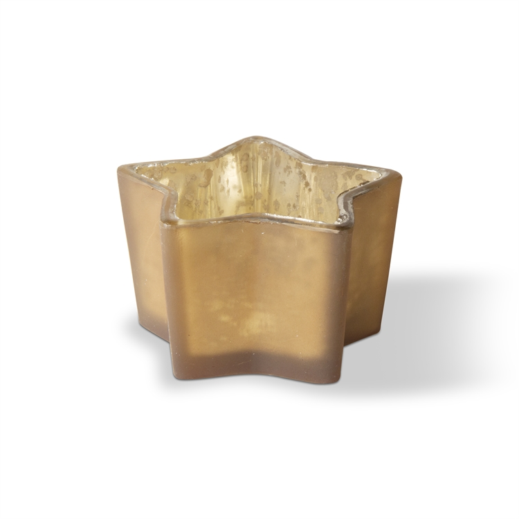 Star Tealight Holder Gld