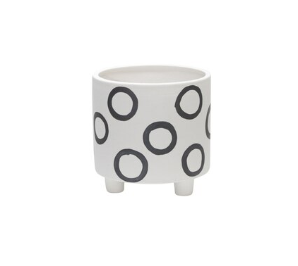 Black Circles Planter 6in