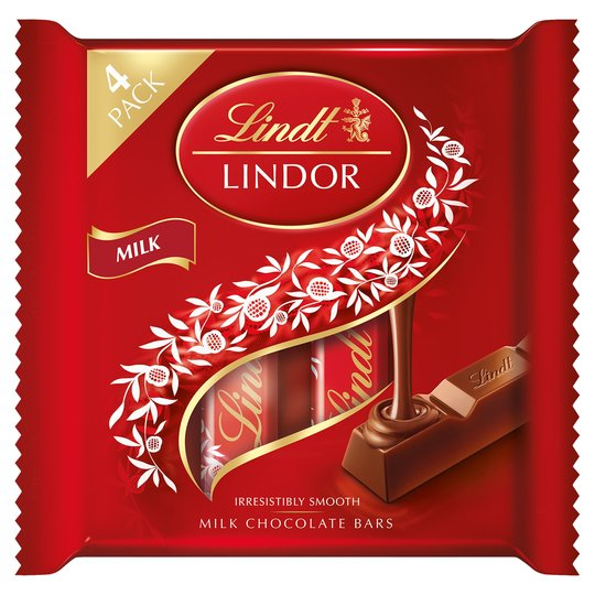 Lindt Lindor Milk Chocolate Bars 4 x 25g