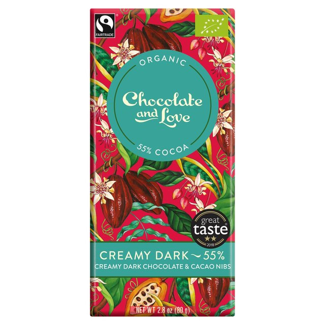 Chocolate and Love Organic Fairtrade 55% Creamy Dark Chocolate with Cacao Nibs 80g