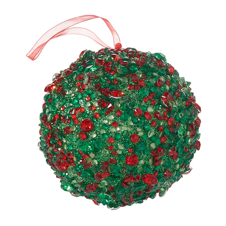 "5"" Red and Green Ball Ornament"