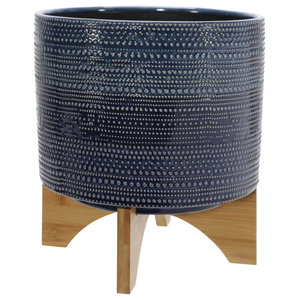 Blue Dotted Planter with Wood Stand 11in
