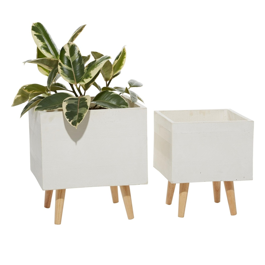 White Ceramic Square Planter Large