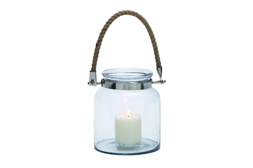 Glass Metal Lantern with Rope Handle 10in
