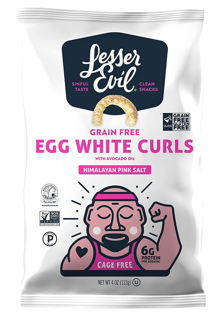 Lesser Evil Grain Free Egg White Curls Himalayan Salt 4oz