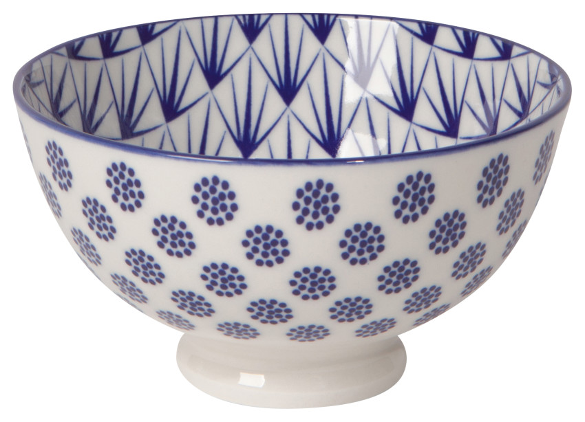 Bowl  4in Blue Dots
