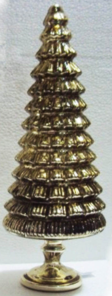 Glass Xmas Tree Gold 15in