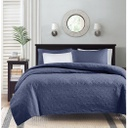 Quebec Kg Coverlet Set Navy