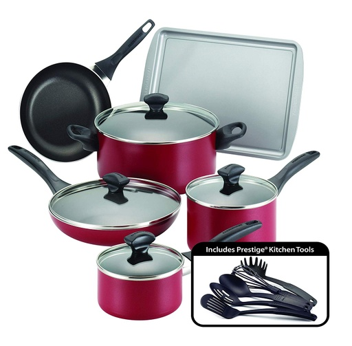 [304637-BB] Farberware Cookware 15pc Red