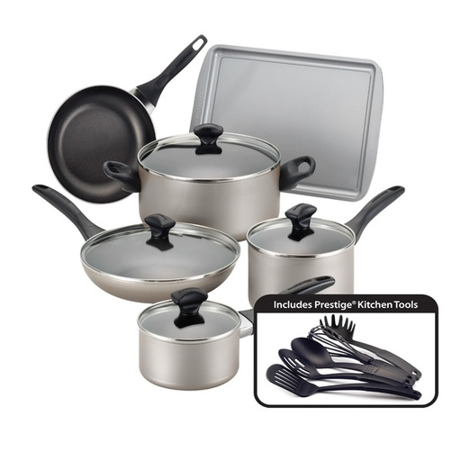 [133716-BB] Farberware Dishwasher Safe Nonstick 15pc Set Champagne