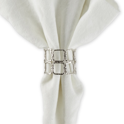 [159170-BB] Double Square Silver Napkin Ring