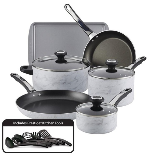 [159302-BB] Farberware Cookware 15pc Marble