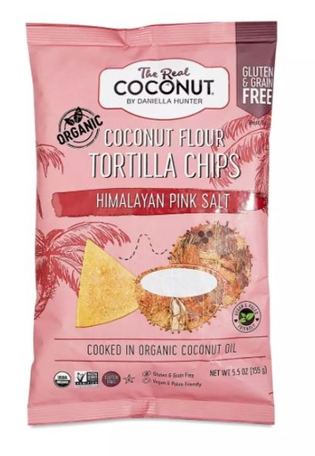 [200301-BB] The Real Coconut Coconut Flour Tortilla Chips Himalayan Seasalt 6oz