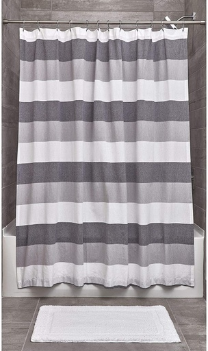 [161984-BB] Black, Grey and White Wide Multi Stripe Shower Curtain
