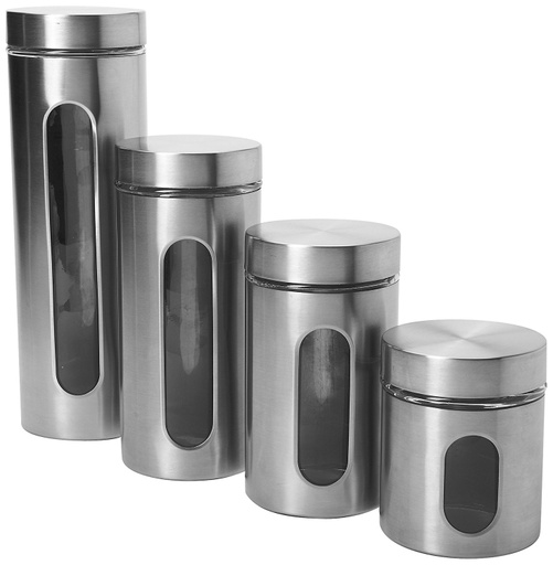[142032-BB] Anchor Hocking Palladian Brushed S/S Window Cylinder Set 4pc