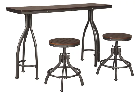 [503460-BB] Odium Counter Height Dining Table and Bar Stools Rustic Brown
