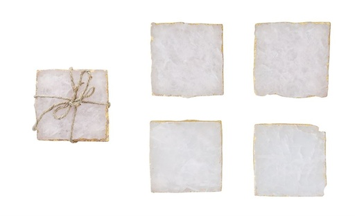 [303032-BB] Square Agate Coasters Set