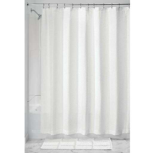 [157096-BB] Waffle Shower Curtain White