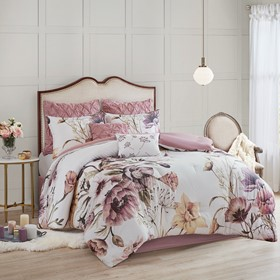 [157591-BB] Cassandra Queen Comforter Set Blush