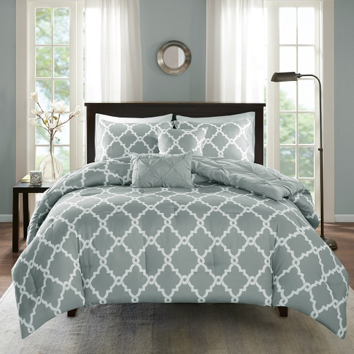 [139683-BB] Kasey Grey 5 Pce Bed Set Qn